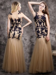 Vintage Mermaid Scoop Floor Length Side Zipper Homecoming Dress Champagne and In for Prom with Lace and Appliques