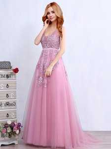 Pink Sleeveless With Train Appliques and Belt Backless Prom Dress
