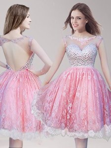Excellent Scoop Lace Pink And White Sleeveless Knee Length Beading Backless Prom Party Dress