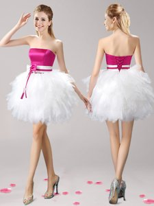 Sleeveless Tulle Mini Length Lace Up Prom Evening Gown in Pink And White for with Ruffles and Bowknot