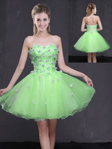 Organza Sweetheart Sleeveless Lace Up Appliques in