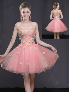 High End Mini Length Lace Up Evening Dress Pink and In for Prom and Party with Appliques