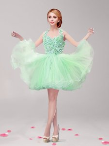 Inexpensive Halter Top Backless Apple Green Sleeveless Ruffles and Hand Made Flower Mini Length Dress for Prom