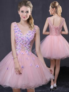 Mini Length A-line Sleeveless Pink Prom Evening Gown Lace Up
