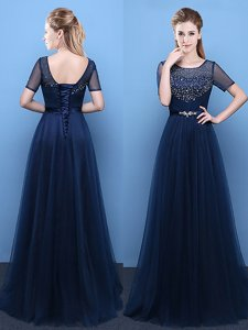 Scoop Floor Length Empire Short Sleeves Navy Blue Lace Up