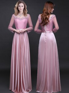 Ideal Long Sleeves Lace Up Floor Length Appliques and Belt Homecoming Dress