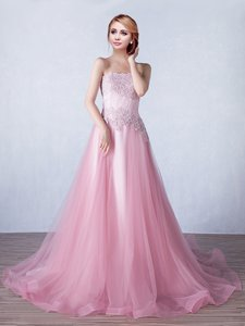 With Train Pink Prom Gown Tulle Brush Train Sleeveless Appliques