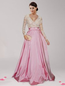 Pink And White V-neck Zipper Beading and Belt Prom Party Dress Long Sleeves