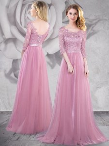 Elegant Pink Tulle Lace Up Scoop Half Sleeves With Train Prom Gown Brush Train Lace and Ruching
