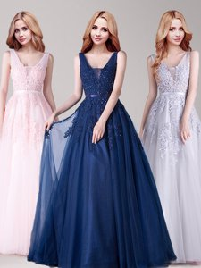 Scoop Half Sleeves Lace Up Floor Length Lace and Ruching and Bowknot Prom Dresses