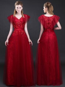 Top Selling Wine Red Short Sleeves Tulle and Lace Zipper Evening Dress for Prom