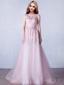Romantic Scoop Pink Zipper Prom Dress Appliques and Hand Made Flower Sleeveless With Brush Train