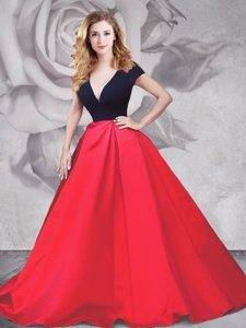 Trendy Brush Train A-line Prom Dresses Red And Black V-neck Satin and Tulle Short Sleeves With Train Zipper