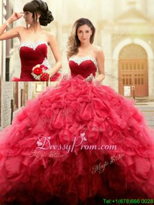 Cute Red Sweetheart Lace Up Beading and Ruffles Sweet 16 Dress Sleeveless