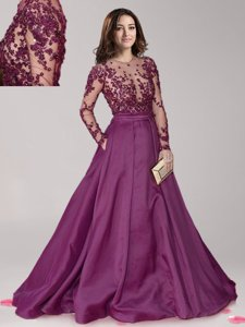 Scoop Beading Prom Evening Gown Dark Purple Zipper Long Sleeves With Brush Train
