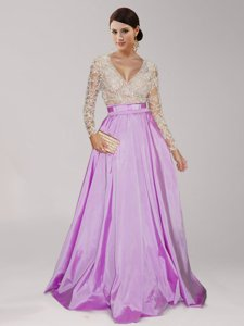 Comfortable Lilac Taffeta Zipper V-neck Long Sleeves Floor Length Prom Gown Beading and Belt