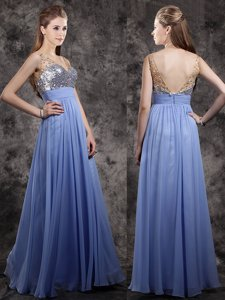 Fantastic Floor Length Zipper Prom Gown Lavender and In for Prom with Beading and Sequins