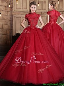 Sophisticated High-neck Short Sleeves Tulle Sweet 16 Quinceanera Dress Appliques Zipper