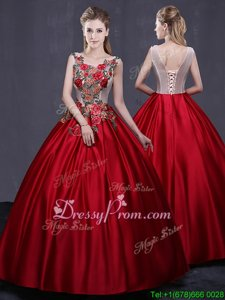 Sleeveless Satin Floor Length Lace Up Quinceanera Gowns inWine Red forSpring and Summer and Fall and Winter withAppliques