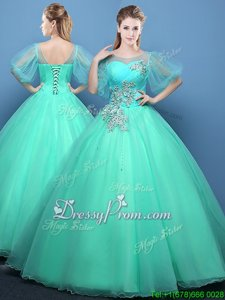 Inexpensive Spring and Summer and Fall and Winter Organza Half Sleeves Floor Length Quinceanera Dresses andAppliques