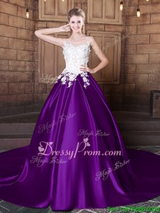Elegant Purple Elastic Woven Satin Lace Up 15 Quinceanera Dress Sleeveless Court Train Lace and Appliques