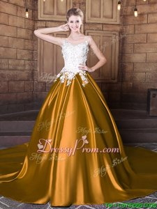 Graceful Gold Scoop Lace Up Lace and Appliques Quinceanera Dress Court Train Sleeveless