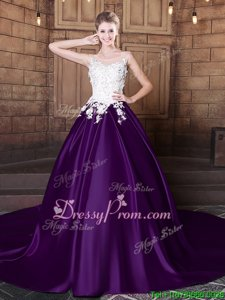 Super Scoop Sleeveless Quinceanera Gowns With Train Court Train Lace and Appliques White And Purple Elastic Woven Satin
