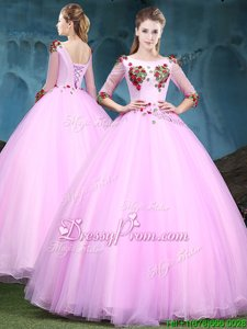 Glittering Baby Pink Ball Gowns Tulle Scoop Half Sleeves Appliques Floor Length Lace Up Quinceanera Dresses