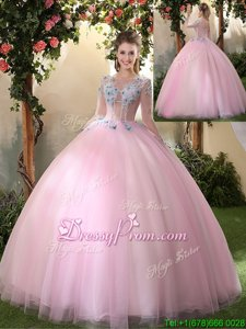 Comfortable Scoop Long Sleeves 15 Quinceanera Dress Floor Length Appliques Baby Pink Tulle
