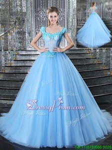 On Sale Light Blue Sleeveless Tulle Brush Train Lace Up Vestidos de Quinceanera forMilitary Ball and Sweet 16 and Quinceanera