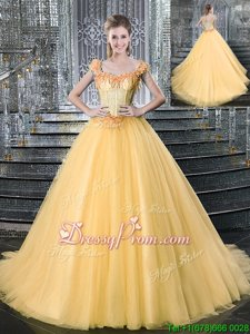 Amazing Gold Sleeveless With Train Beading Lace Up Quinceanera Gown
