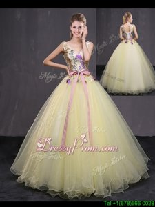 Fashion Light Yellow Ball Gowns Appliques and Belt Sweet 16 Dress Lace Up Tulle Sleeveless Floor Length