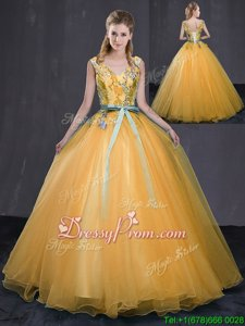 Fashionable Gold Lace Up V-neck Appliques and Belt 15 Quinceanera Dress Tulle Sleeveless