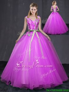 Artistic Fuchsia Tulle Lace Up V-neck Sleeveless Floor Length Sweet 16 Quinceanera Dress Appliques and Belt