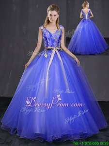 Royal Blue Lace Up 15 Quinceanera Dress Appliques and Belt Sleeveless Floor Length