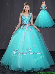 Best Floor Length Lace Up Vestidos de Quinceanera Aqua Blue and In forMilitary Ball and Sweet 16 and Quinceanera withAppliques and Belt