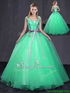 Sleeveless Lace Up Floor Length Appliques and Belt Vestidos de Quinceanera