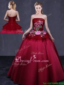 Fantastic Floor Length Wine Red Quinceanera Gown Strapless Sleeveless Lace Up