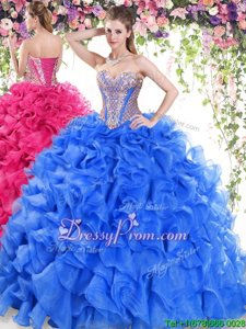 Gorgeous Blue Ball Gowns Organza Sweetheart Sleeveless Beading and Ruffles Lace Up 15th Birthday Dress Sweep Train