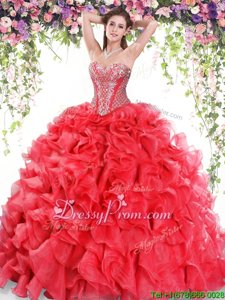 Noble Sweep Train Ball Gowns Quinceanera Dresses Red Sweetheart Organza Sleeveless Lace Up