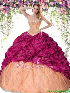 Top Selling Red and Orange Taffeta Lace Up Sweetheart Sleeveless Floor Length Quinceanera Gowns Beading and Pick Ups