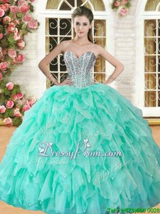 Sleeveless Floor Length Beading and Ruffles Lace Up Sweet 16 Dresses with Apple Green