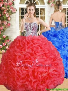 High End Red Lace Up Sweetheart Beading and Ruffles 15 Quinceanera Dress Organza Sleeveless