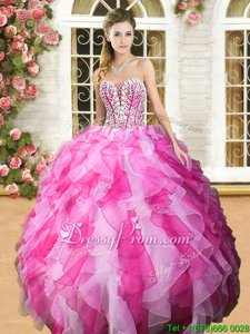 Free and Easy White and Hot Pink Sleeveless Floor Length Beading and Ruffles Lace Up 15th Birthday Dress
