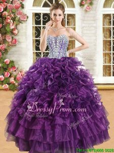 Suitable Sleeveless Beading and Ruffles and Ruffled Layers Lace Up Quinceanera Gown