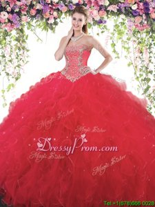 Eye-catching Red Ball Gowns Sweetheart Sleeveless Tulle Floor Length Lace Up Beading 15th Birthday Dress