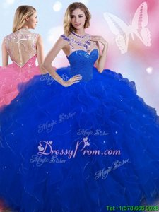 New Arrival Royal Blue Quinceanera Dresses Military Ball and Sweet 16 and Quinceanera and For withBeading High-neck Sleeveless Zipper