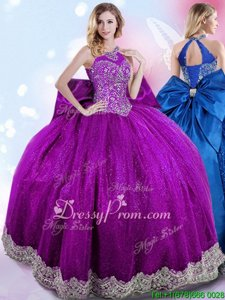 Fine Sleeveless Floor Length Beading and Bowknot Lace Up Sweet 16 Dress with Eggplant Purple