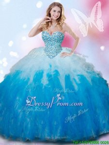 White and Aqua Blue Tulle Lace Up Sweetheart Sleeveless Floor Length Quinceanera Dress Beading and Ruffles