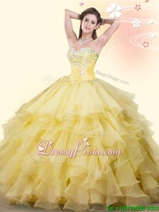 Deluxe Yellow Sleeveless Beading and Ruffles Floor Length Quinceanera Gown